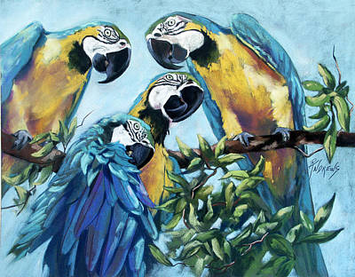 Blue And Gold Macaw Painting - High Jinx by Rae Andrews