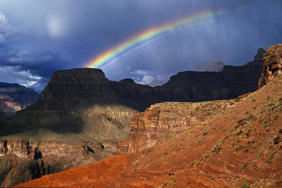 Hikers And Rainbow Kaibab Trail, Grand Print by Ralph Lee Hopkins