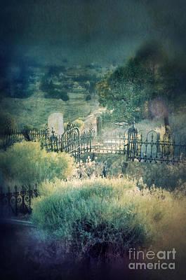 Hillside Graveyard Print by Jill Battaglia