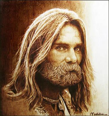 Pirogravura Pyrography - Hippie Christ 95 by Dino Muradian