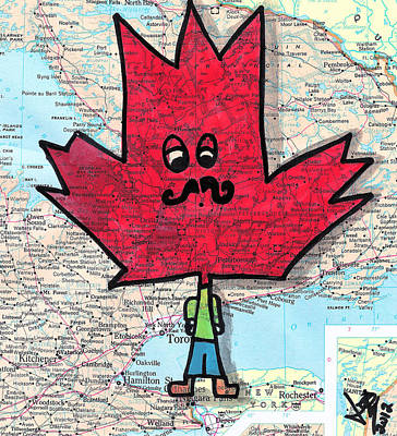 Icon Drawing - Hipster Maple Leaf by Jera Sky