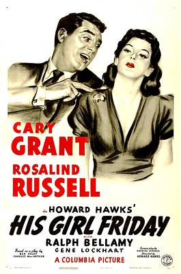 Postv Photograph - His Girl Friday, Poster Art, Cary by Everett