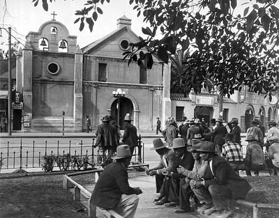 United States Mission Church Photograph - Hispanics On The Plaza by Underwood Archives