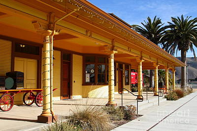 Historic Niles District In California Near Fremont . Niles Depot Museum And Niles Town Plaza.7d10636 Print by Wingsdomain Art and Photography