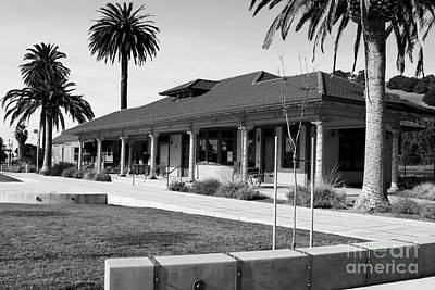 Historic Niles District In California Near Fremont . Niles Depot Museum And Town Plaza.7d10717.bw Print by Wingsdomain Art and Photography