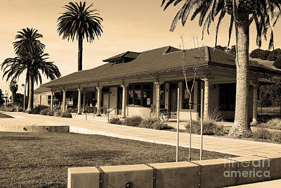 Historic Niles District In California Near Fremont . Niles Depot Museum And Town Plaza.7d10717.sepia Print by Wingsdomain Art and Photography
