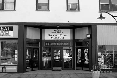 Historic Niles District In California Near Fremont . Niles Essanay Silent Film Museum . 7d10683 Bw Print by Wingsdomain Art and Photography