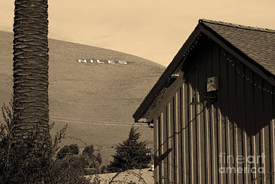Historic Niles District In California Near Fremont . Niles Letters From Niles Town Plaza . Sepia Print by Wingsdomain Art and Photography