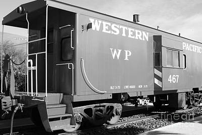 Old Caboose Photograph - Historic Niles District In California Near Fremont . Western Pacific Caboose Train . 7d10627 . Bw by Wingsdomain Art and Photography