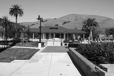Historic Niles District In California Near Fremont.niles Depot Museum And Town Plaza.7d10697.bw Print by Wingsdomain Art and Photography