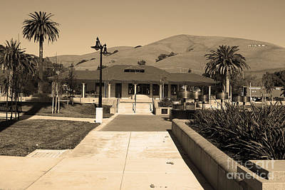 Historic Niles District In California Near Fremont.niles Depot Museum And Town Plaza.7d10697.sepia Print by Wingsdomain Art and Photography