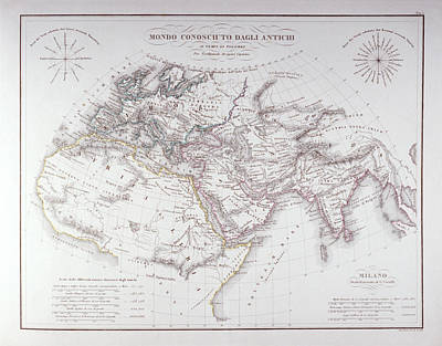 Historical Map Of The Known World Print by Fototeca Storica Nazionale