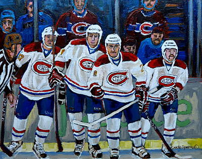 Montreal Forum Painting - Hockey Art At Bell Center Montreal by Carole Spandau