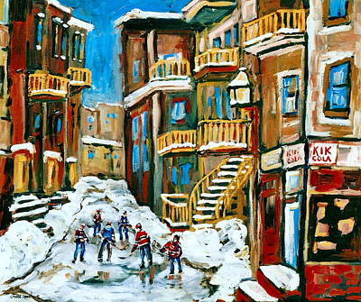 Montreal Winter Scenes Painting - Hockey Art In Montreal by Carole Spandau