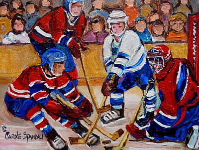 Montreal Forum Painting - Hockey Game Scoring The Goal by Carole Spandau