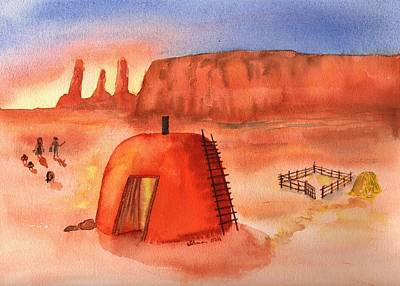 Watercolor Painting - Hogan In Monument Valley by Sharon Mick
