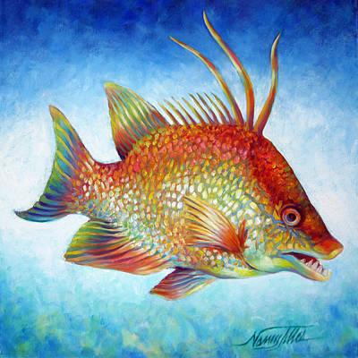 Hogfish Snapper Print by Nancy Tilles