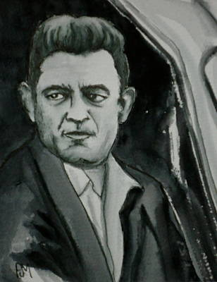 Johnny Cash Drawing - Hold The Bus by Pete Maier