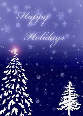 Snow Covered Trees Digital Art - Holiday Blue by Joann Vitali