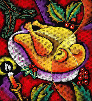 Holiday Turkey Dish Print by Leon Zernitsky