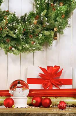 Festival Photograph - Holiday Wreath With Snow Globe  by Sandra Cunningham