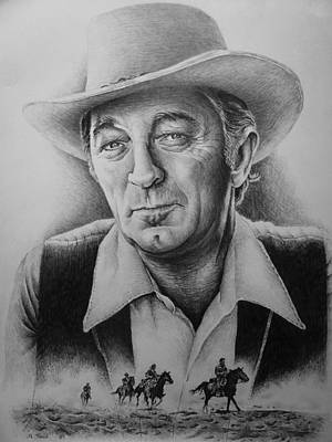Person Drawing - Hollywood Greats -robert Mitchum by Andrew Read