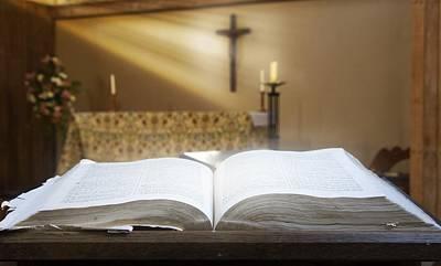 Holy Bible In A Church Print by John Short