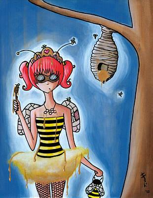 Goggles Painting - Honeybee Girl by Jen Kiddo
