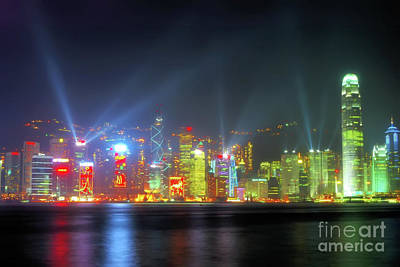 Hong Kong Night Lights Print by Bibhash Chaudhuri