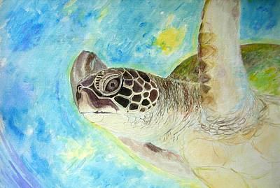 Honu Swimming Original by Tamara Tavernier
