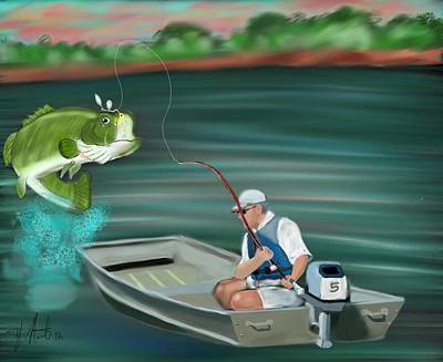 Large Mouth Bass Digital Art - Hooked A Keeper by Tyler Martin