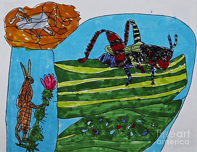 Grasshopper Drawing - Hoppers And Crawlers by Stephanie Ward