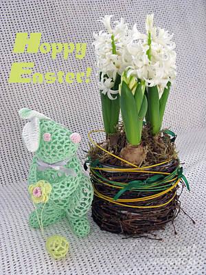 Hoppy Easter Says The Bunny Print by Ausra Huntington nee Paulauskaite