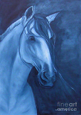 Horse - Andalusian Indigo Original by Go Van Kampen