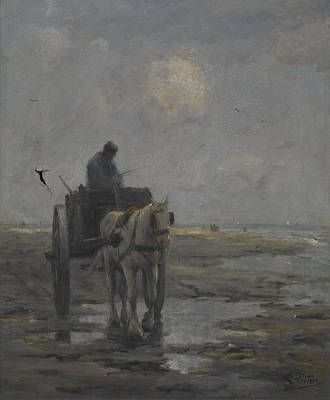 Estuary Painting - Horse And Cart by Evert Pieters