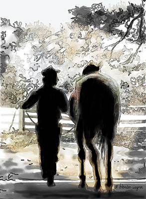 Horse Digital Art - Horse And Groom by Arline Wagner