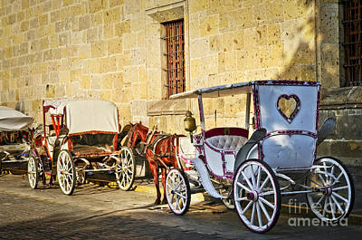 Horse Drawn Carriages In Guadalajara Print by Elena Elisseeva