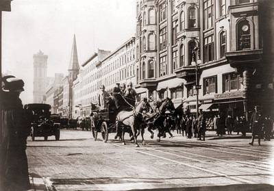 Horse-drawn Fire Engines In Street Print by Everett