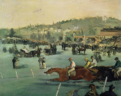 Horse Racing Print by Edouard Manet