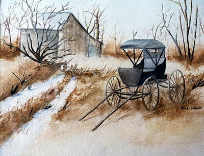 Horsepowered Winter Surrey Painting Print by Cindy Wright