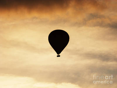 Sunrise Photograph - Hot Air Balloon At Dusk by Pixel Chimp