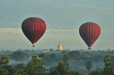 Myanmar Photograph - Hot Air Balloons Over Bagan In Myanmar by Huang Xin