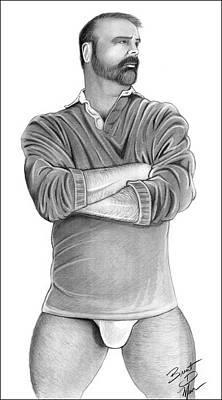 Gay Bear Drawing - Hot Guy Next Door by Brent  Marr