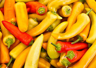 Hot Peppers Red And Yellow Print by Douglas Barnett