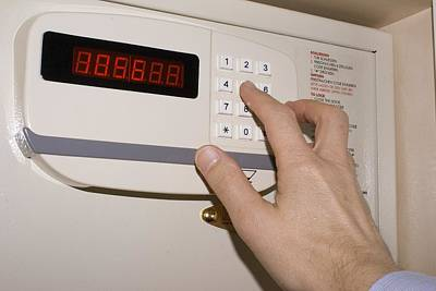 Keypad Photograph - Hotel Safe Keypad. by Mark Williamson