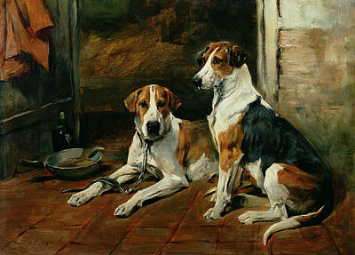 Hounds In A Stable Interior Print by John Emms
