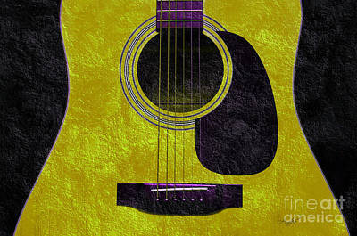 Abstract Digital Art - Hour Glass Guitar Gold 1 T  by Andee Design