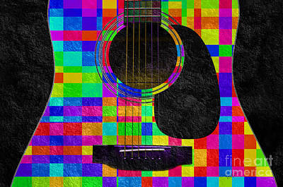 Guitar Mixed Media - Hour Glass Guitar Random Rainbow Squares by Andee Design