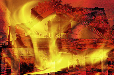 House Fire Illustration 2 Print by Steve Ohlsen