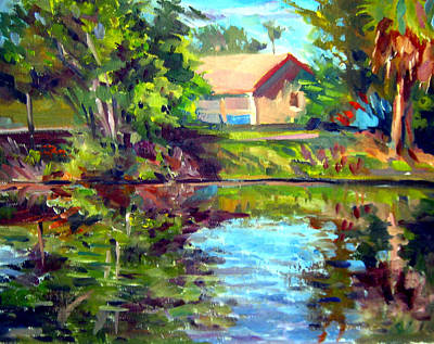 Pleain Air Painting - House On The Canal by Mark Hartung